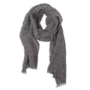 100% Linen Scarf - Black / White - Checked