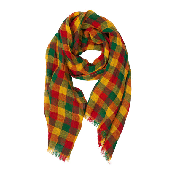 100% Linen Scarf - Colorful - Checked