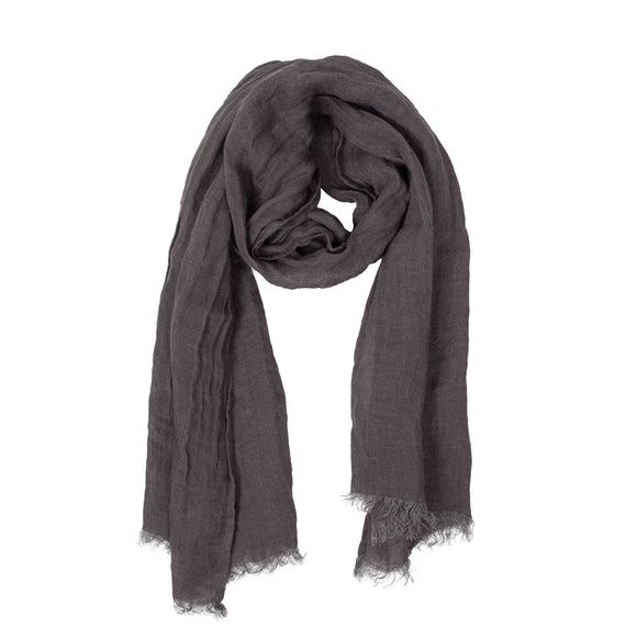 100% Linen Scarf - Anthracite Gray