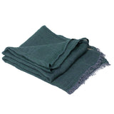 100% Linen Scarf - Dark Green