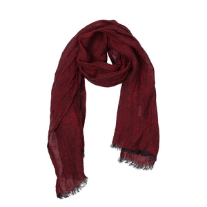 100% Linen Scarf - Dark Red