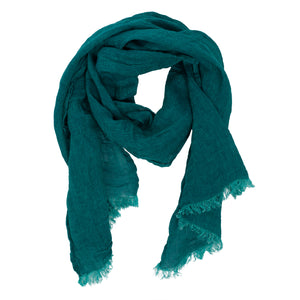 100% Linen Scarf - Emerald Green