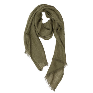 100% Linen Scarf - Mossy Green Color