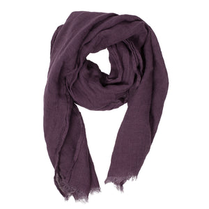 100% Linen Scarf - Purple