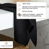 Linen Bath Towel - 100% Linen - Black