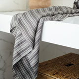 Linen Bath Towel - 52% Linen / 48% Cotton - Gray Stripes