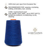 100% Linen Yarn - Bright Ink Blue