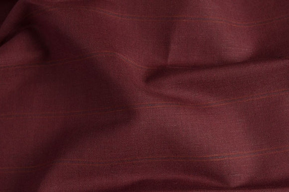Linen Cotton Fabric in Dark Red Striped With Blend Fabric