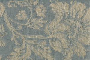 Linen Cotton Fabric in Grey With Flower Ornaments