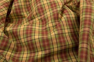 Linen Cotton Fabric in in Red, Green and Yellow Checks