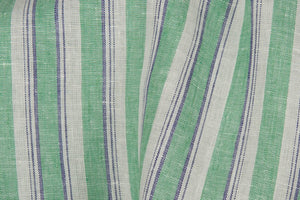 Linen Fabric in Green Stripes
