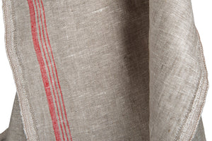 Linen Fabric in Light Grey Narrow With Red Stripes