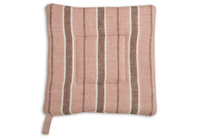 Linen Kitchen Potholder in Brown With Stripes