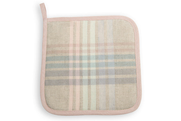 Linen Kitchen Potholder in Multicolored Stripes