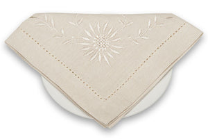 Linen Napkin in Beige With Flower Embroidery