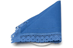 Linen Napkin in Deep Blue With Hemstitch and Lace