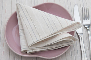 Linen Napkin in Off White With Colorful Stripes