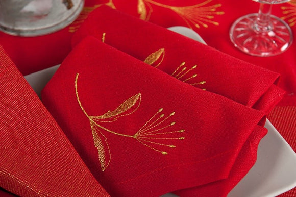Linen Napkin in Red With Gold Embroidered