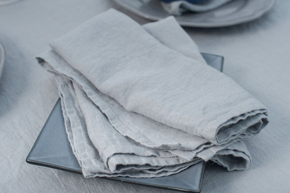 Linen Napkin in Solid Light Grey Color - Washed
