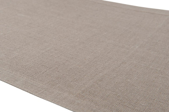 Linen Table Runner in Grey Pattern With Border