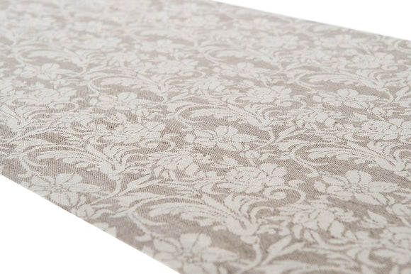 Linen Table Runner in Grey With Flower Ornaments