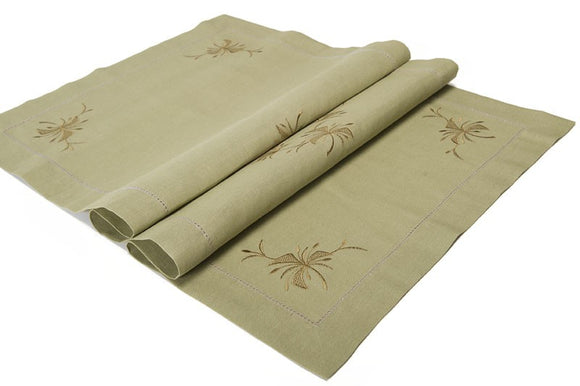 Linen Table Runner in Khaki Green With Embroidery and Hemstitch