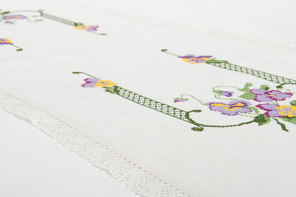 Linen Table Runner in White Embroidered With Lace