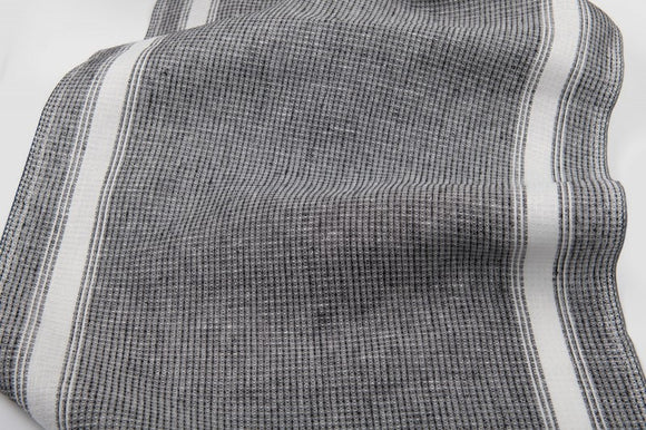 Linen Fabric With Black and White Waffle