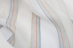 Linen Fabric With Milky White Translucent Colored Stripes