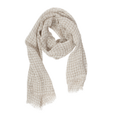 100% Linen Scarf - Gray - Checked Scarf