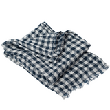 100% Linen Scarf - Navy Blue / White - Checked