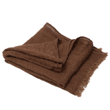 100% Linen Scarf - Brown