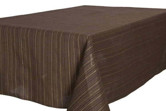 Brown TABLECLOTH   With Golden Stripes   Light Weight Fabric   Linen Cotton  And Polyester Blend