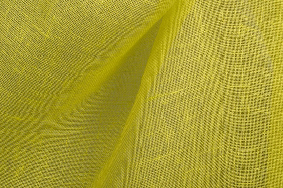 Gauze type LINEN Fabric by the yard - made in Northern Europe - Greenish yellow - Light Weight - Transparent