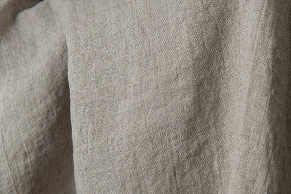 Stone washed linen - 100% LINEN Fabric - European - Natural GREY color - SOFTENED - Flax textile
