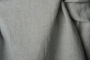 Greenish GRAY LINEN blend FABRIC - Softened - herringbone flax textile - softened - woven in Northern Europe