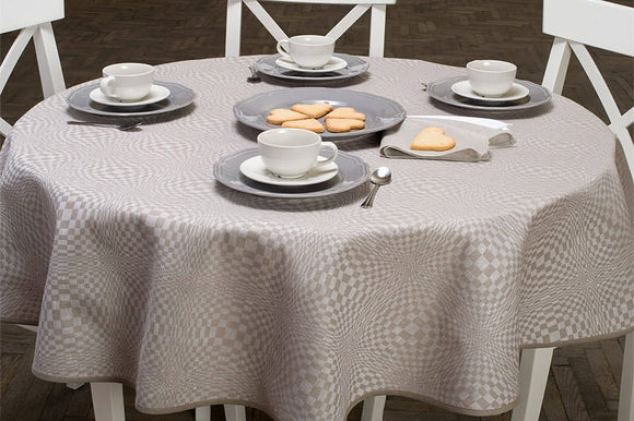 Round Tablecloth | Grey Tablecloth | Linen Tablecloth | Table Linens | Table Cover | Linen | Oval Tablecloth | Checked | White Tablecloth