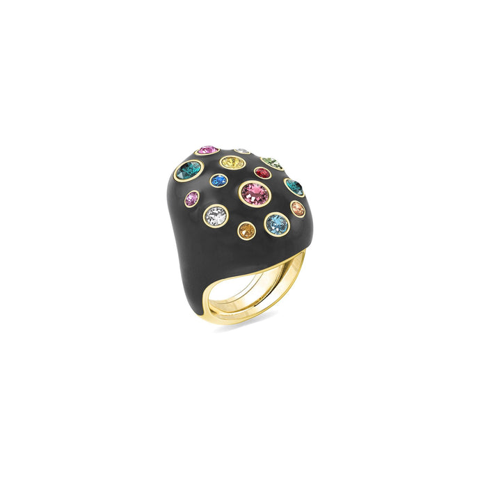 Black Enamel Pumped Oval Ring ring SBS Capri 18 Kt Gold
