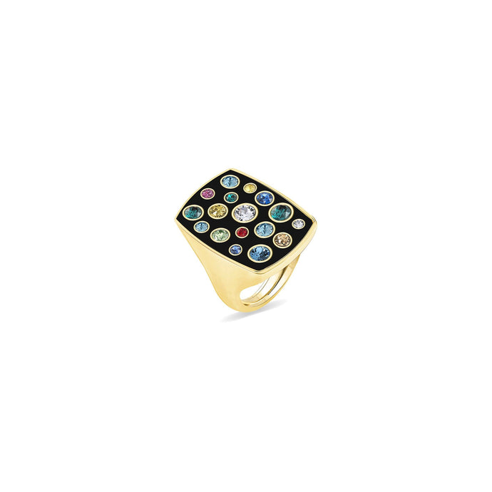 Black Enamel Rectangular Ring ring SBS Capri 18 Kt Gold
