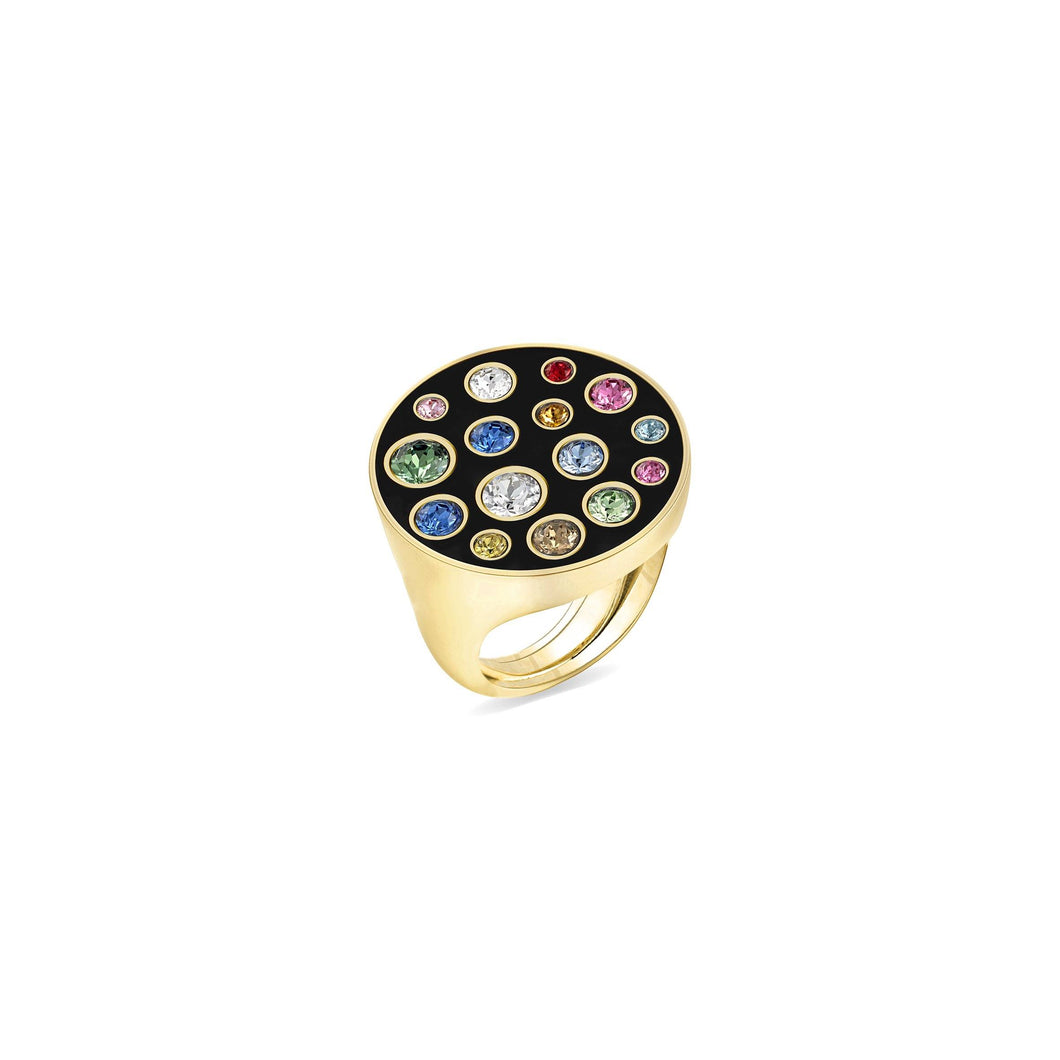 Black Enamel Round Ring ring SBS Capri 18 Kt Gold