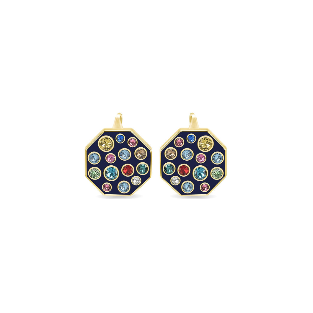 Blue Enamel Octagonal Earrings earrings SBS Capri 18 Kt Gold