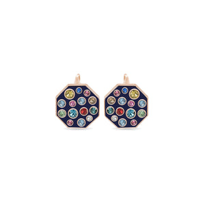 Blue Enamel Octagonal Earrings earrings SBS Capri 18 Kt Rose Gold
