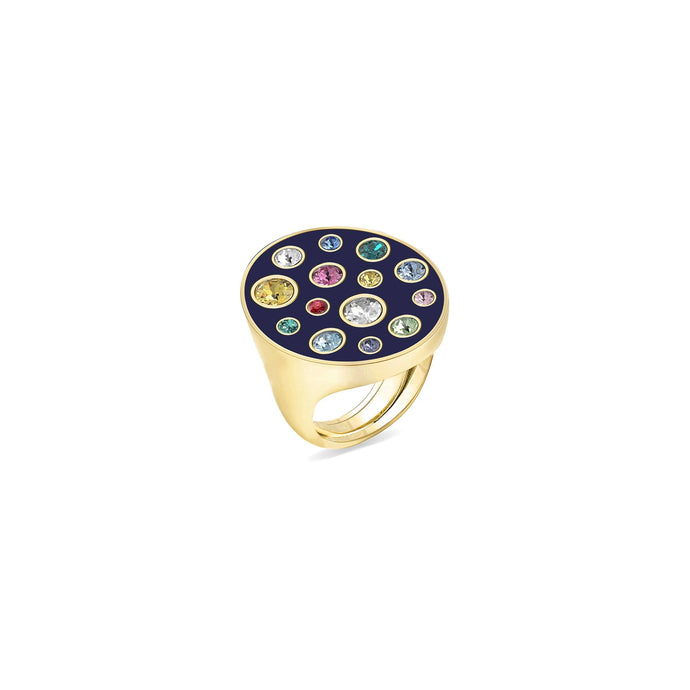 Blue Enamel Oval Ring ring SBS Capri 18 Kt Gold