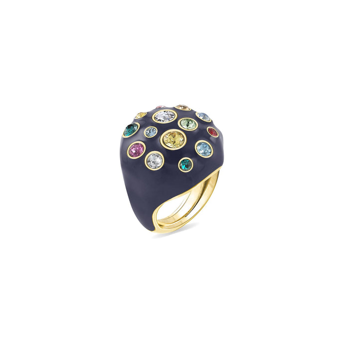Blue Enamel Pumped Octagonal Ring ring SBS Capri 18 Kt Gold
