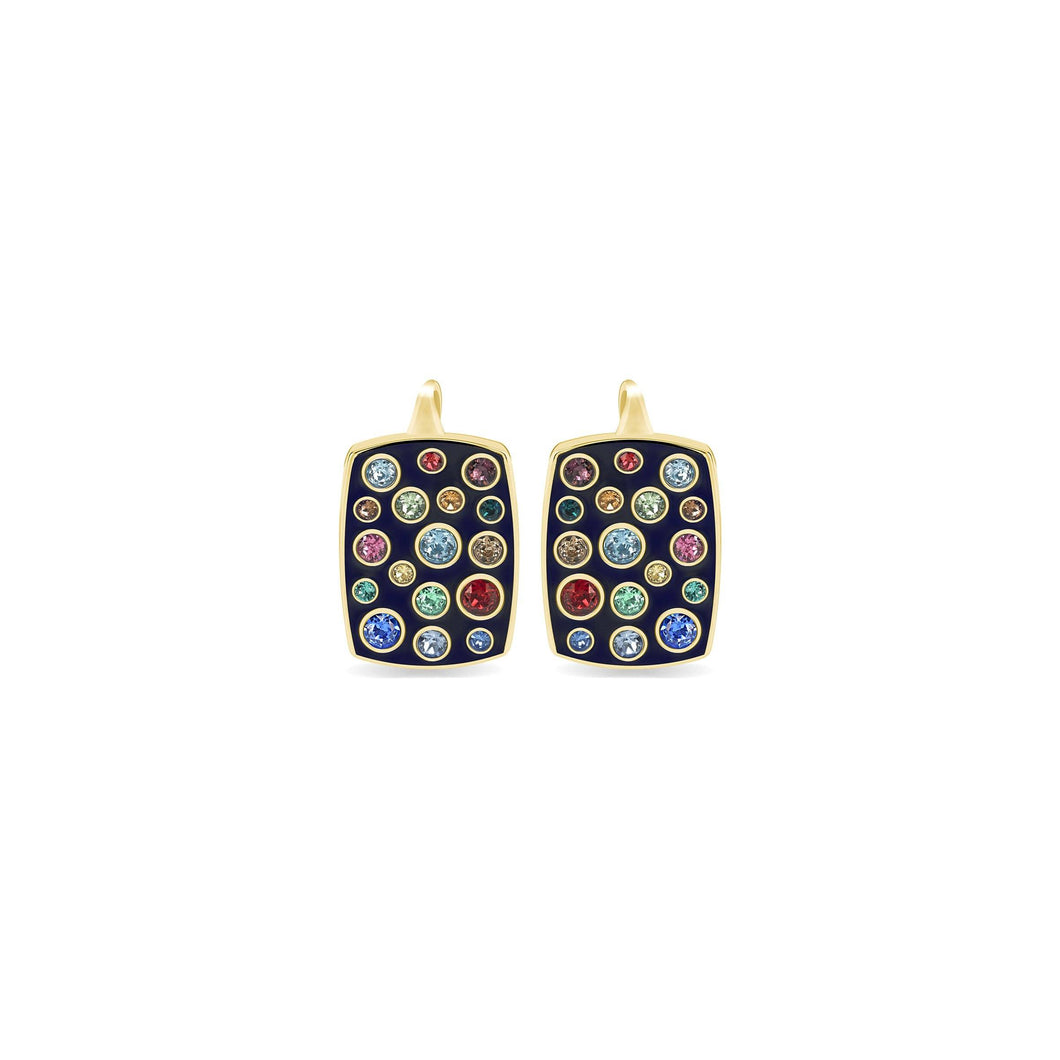 Blue Enamel Rectangular Earrings earrings SBS Capri 18 Kt Gold