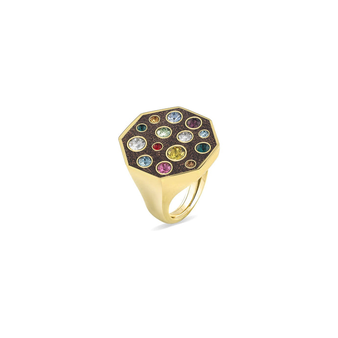 Brown Glitter Octagonal Ring ring SBS Capri 18 Kt Gold