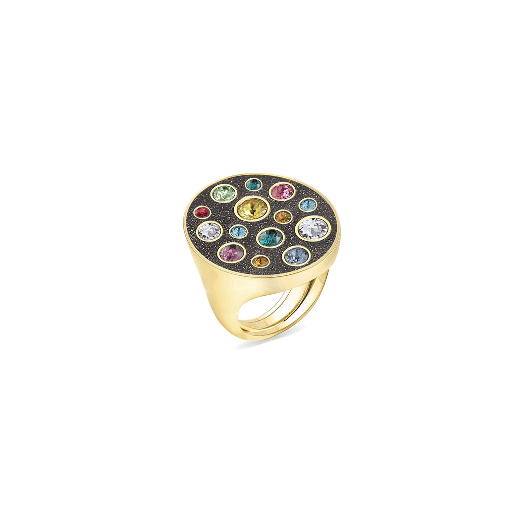 Brown Glitter Oval Ring ring SBS Capri 18 Kt Gold