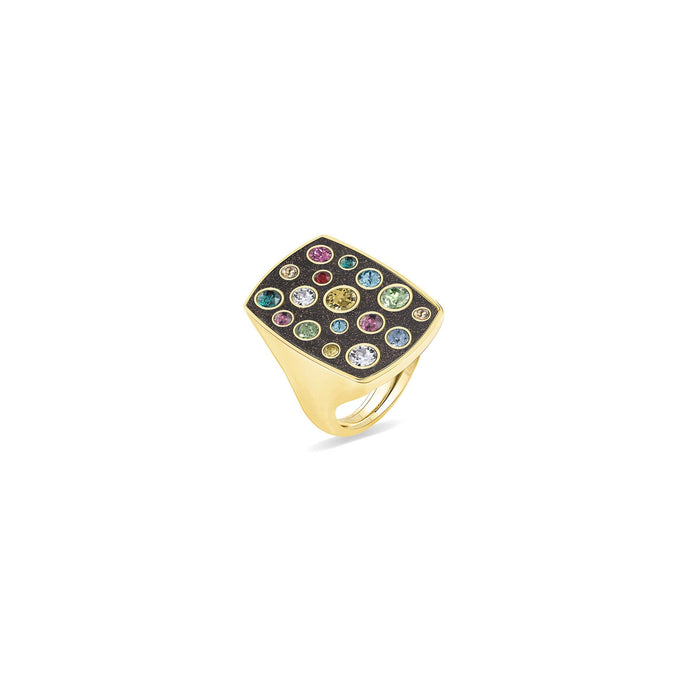 Brown Glitter Rectangular Ring ring SBS Capri 18 Kt Gold