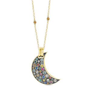 Grey Glitter Maxi Pumped Moon Pendant pendant SBS Capri 18 Kt Gold No Chain