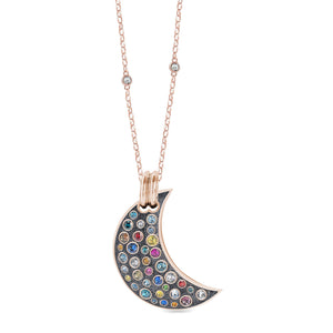 Grey Glitter Maxi Pumped Moon Pendant pendant SBS Capri 18 Kt Rose Gold No Chain